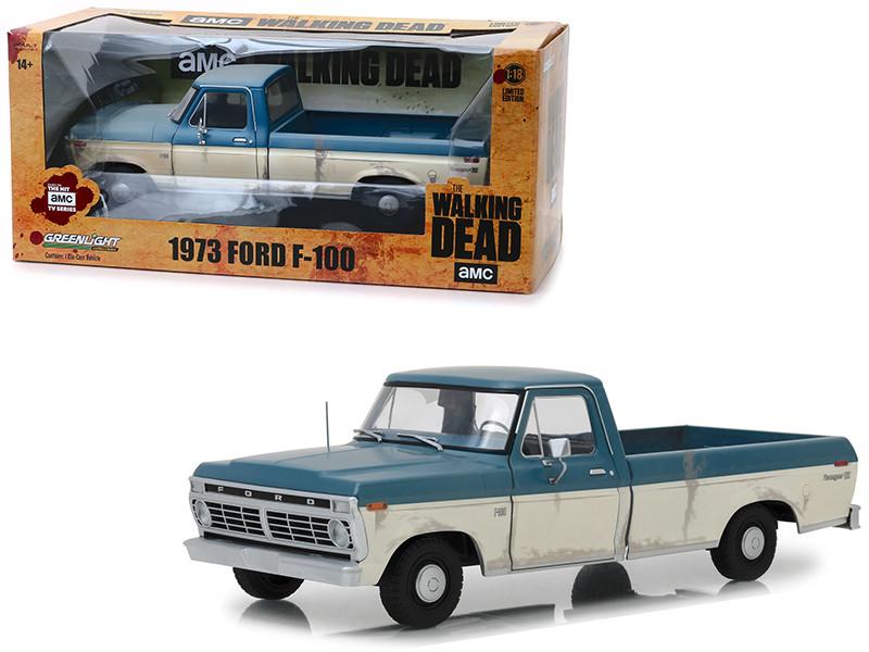1973 Ford F-100 Ranger XLT Pickup Truck Blue Cream Weathered Walking Dead 2010 TV Series 1/18 Diecast Model Car Greenlight 12956