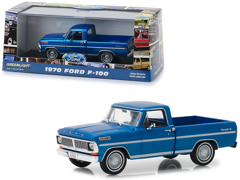 1970 Ford F-100 Ranger XLT Pickup Truck Acapulco Metallic Blue 1/43 Diecast Model Car Greenlight 86317