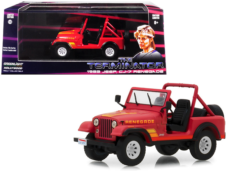 1983 Jeep CJ-7 Renegade Red Sarah Connor Terminator 1984 Movie 1/43 Diecast Model Car Greenlight 86533