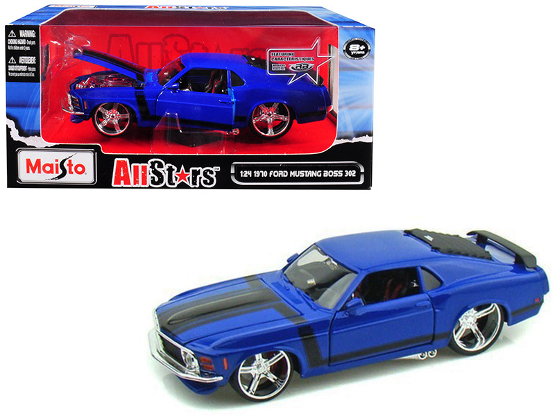 1970 Ford Mustang Boss 302 Blue Pro Rodz 1/24 Diecast Model Car Maisto 31329