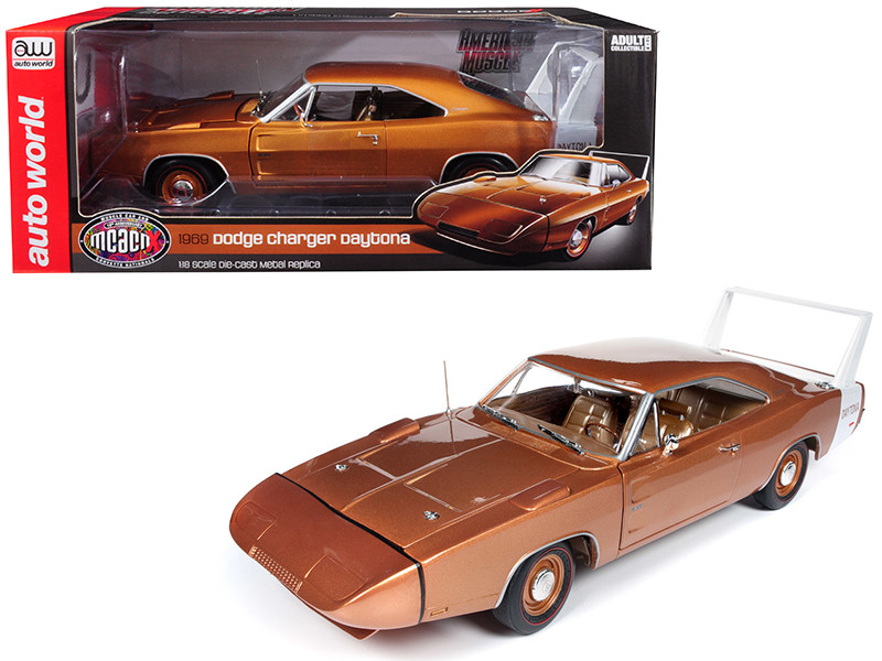 1969 Dodge Charger Daytona Metallic Bronze MCACN 10th Anniversary Limited Edition 1002 pieces Worldwide 1/18 Diecast Model Car Autoworld AMM1168