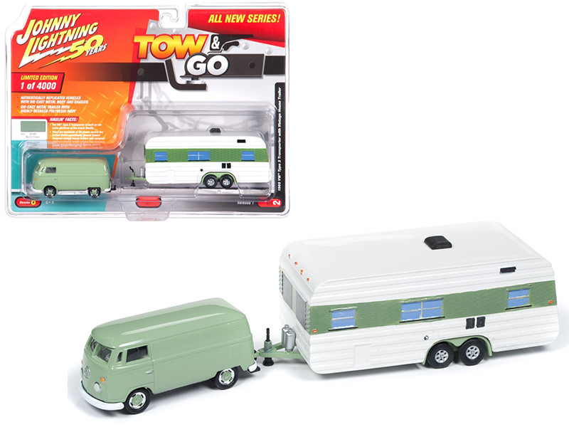 1965 Volkswagen Type 2 Transporter Birch Green Vintage House Trailer Limited Edition 4000 pieces Worldwide Tow and Go Series 1 1/64 Diecast Model Car Johnny Lightning JLTG001 A