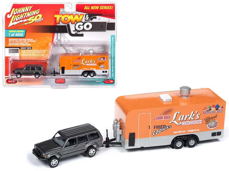 Jeep Cherokee XJ Sport Dover Gray Metallic Food Concession Trailer Limited Edition 4000 pieces Worldwide Tow and Go Series 1 1/64 Diecast Model Car Johnny Lightning JLTG001 B