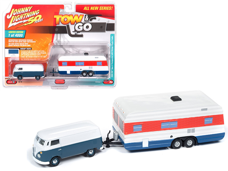 1965 Volkswagen Type 2 Transporter Dove Blue White Vintage House Trailer Limited Edition 4000 pieces Worldwide Tow and Go Series 1 1/64 Diecast Model Car Johnny Lightning JLTG001 B