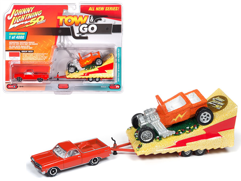 1965 Chevrolet El Camino Hugger Orange Parade Float Limited Edition 4000 pieces Worldwide Tow and Go Series 1 1/64 Diecast Model Car Johnny Lightning JLTG001 B