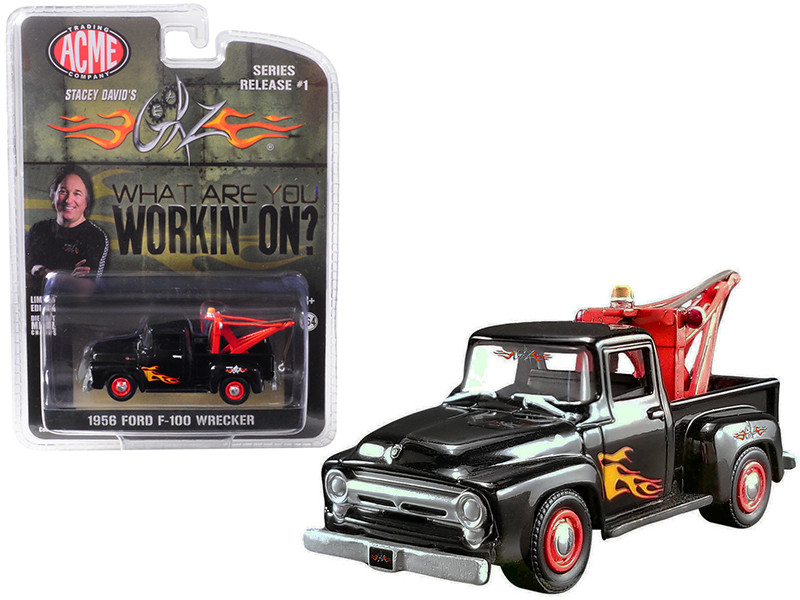 1956 Ford F-100 Wrecker Tow Truck Black Flames Stacey David's GearZ What are you working on 1/64 Diecast Model Car Greenlight ACME 51248