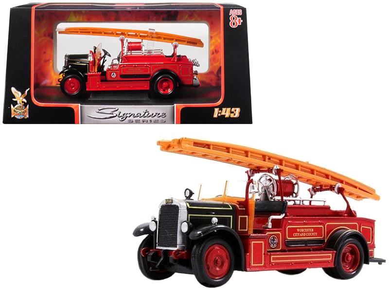 1934 Leyland FK-1 Fire Engine Red Black 1/43 Diecast Model Road Signature 43009
