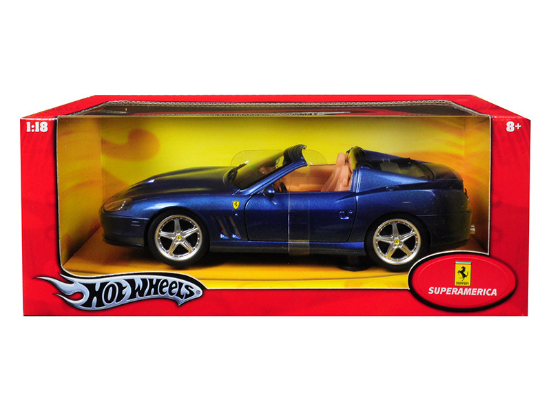 Ferrari Super America Blue 1/18 Diecast Model Car Hotwheels J2872