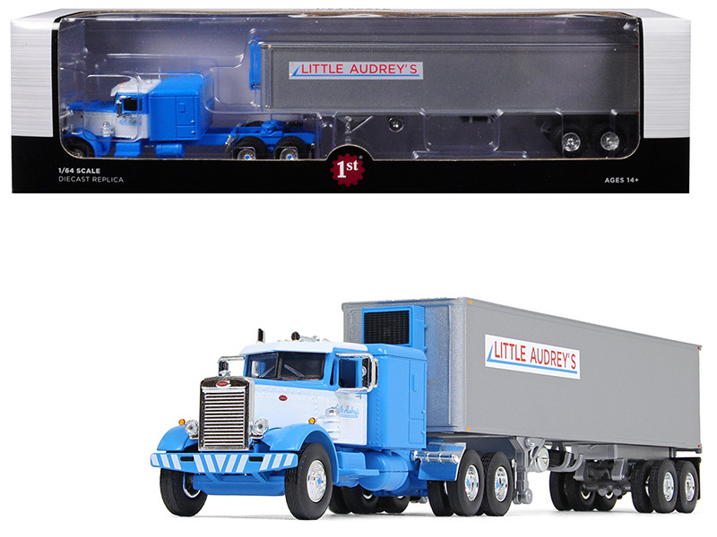 "Peterbilt 351 Long Frame 63"" Sleeper Bunk 40' Vintage Reefer Refrigerated Trailer Little Audrey's Transportation Blue White 26th Fallen Flags Series 1/64 Diecast Model First Gear 60-0493"