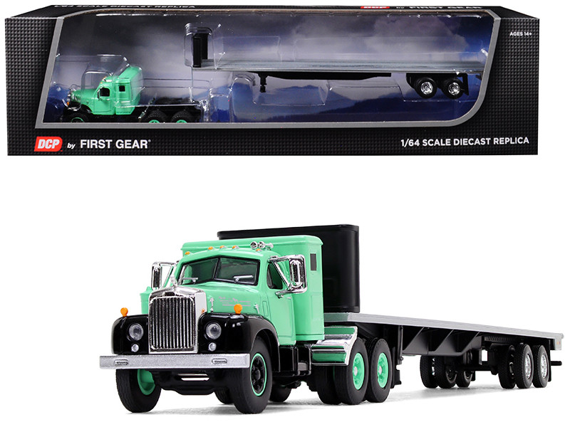 Mack B-61 Sleeper Cab 48' Flatbed Trailer Antique Green 1/64 Diecast Model DCP First Gear 60-0516