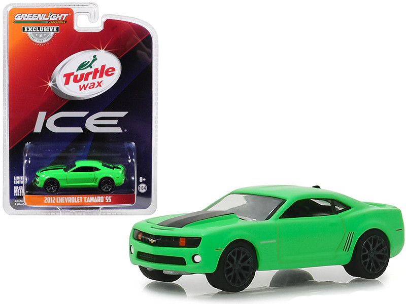 2012 Chevrolet Camaro SS Green Black Stripe Turtle Wax Ice Smart Shield Technology Turtle Wax Ad Cars Hobby Exclusive 1/64 Diecast Model Car Greenlight 30019