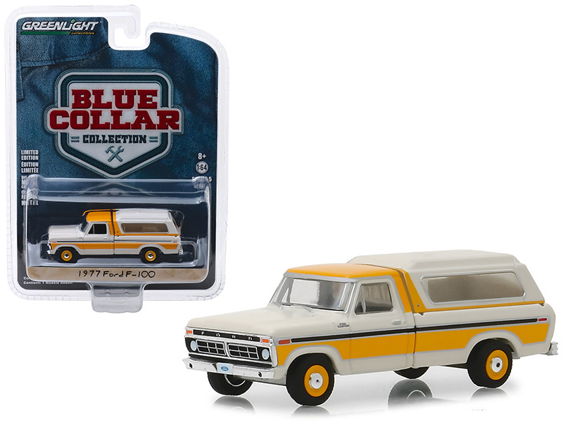 1977 Ford F-100 Pickup Truck Camper Shell Cream Orange Blue Collar Collection Series 5 1/64 Diecast Model Car Greenlight 35120 D