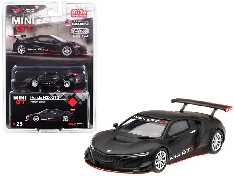 Honda NSX GT3 Presentation Matt Black Limited Edition 3600 pieces Worldwide 1/64 Diecast Model Car True Scale Miniatures MGT00025