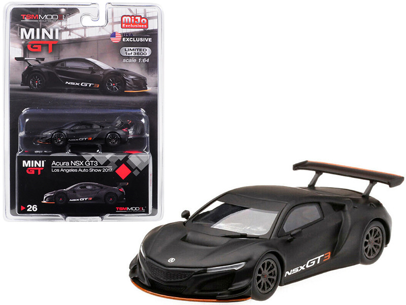 Acura NSX GT3 Matt Black Los Angeles Auto Show 2017 Limited Edition 3600 pieces Worldwide 1/64 Diecast Model Car True Scale Miniatures MGT00026