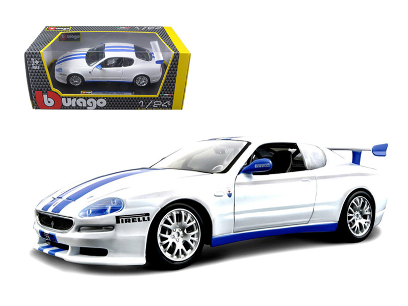Maserati Trofeo White/Blue 1/24 Diecast Car Model Bburago 22097