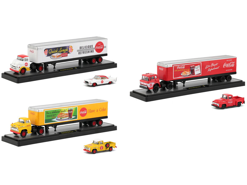 Auto Haulers Coca Cola Set 3 Trucks Quick Lunch Release 1/64 Diecast Models M2 Machines 56000-QL01