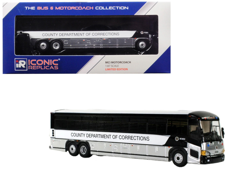 MCI D4505 Motorcoach Bus County Department Corrections 1/87 Diecast Model Iconic Replicas 87-0072