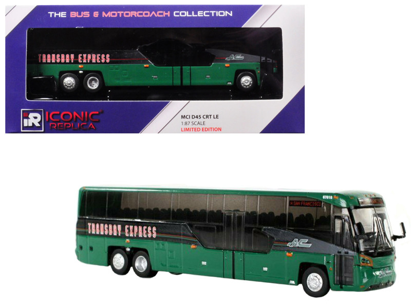 MCI D45 CRT LE Coach AC Transit Bus Transbay Express San Francisco Green 1/87 Diecast Model Iconic Replicas 87-0099