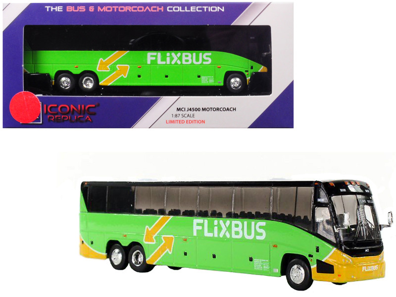 MCI J4500 Motorcoach Transit Bus FlixBus Las Vegas Green 1/87 Diecast Model Iconic Replicas 87-0127