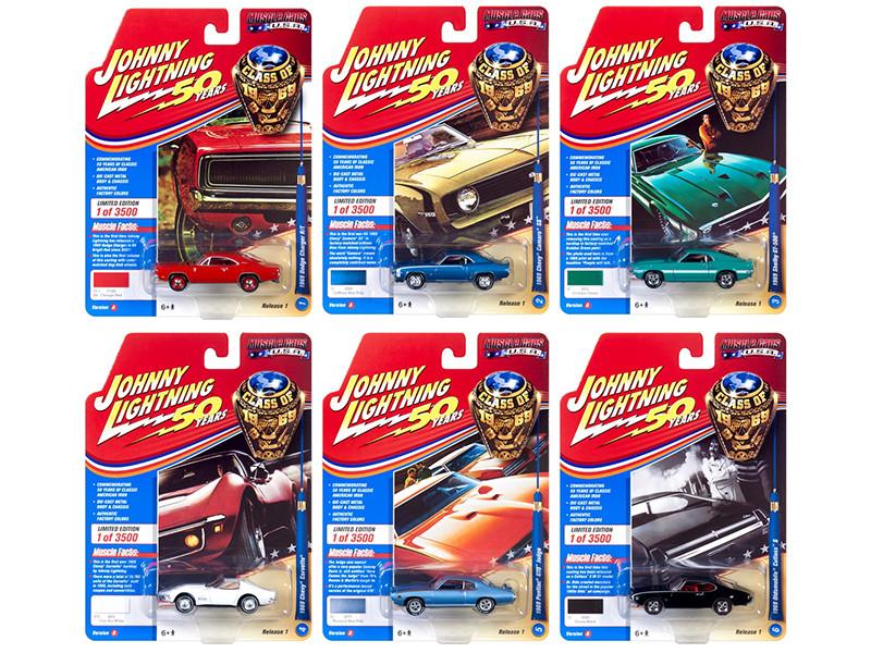 Muscle Cars USA 2019 Release 1 Set A 6 Cars Class of 1969 1/64 Diecast Models Johnny Lightning JLMC019 A