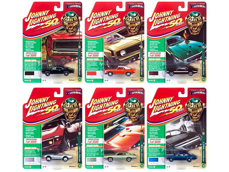 Muscle Cars USA 2019 Release 1 Set B 6 Cars Class 1969 1/64 Diecast Models Johnny Lightning JLMC019 B