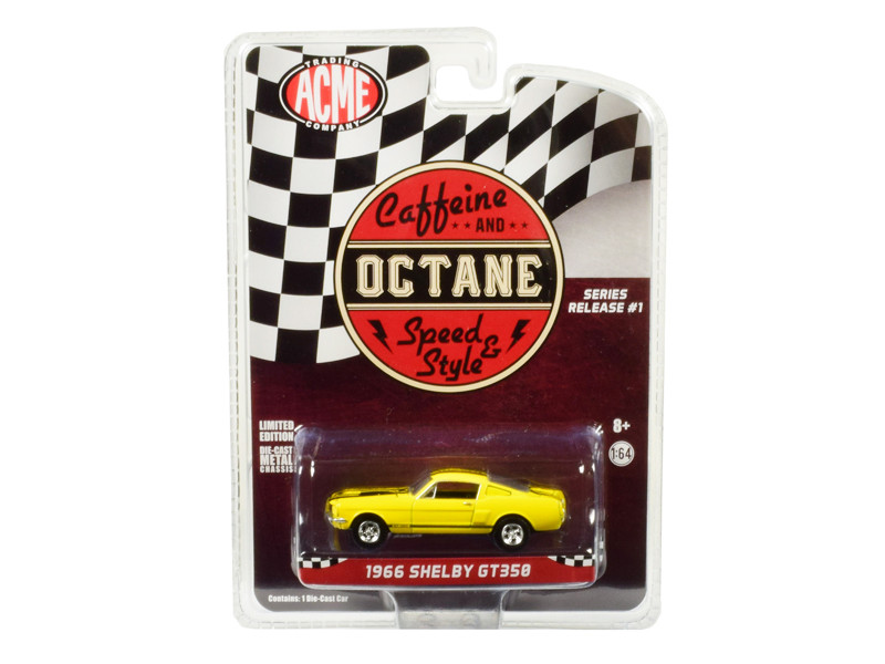 1966 Ford Mustang Shelby GT350 Yellow Black Stripes Caffeine and Octane 2017 TV Show Release #1 Series 1/64 Diecast Model Car Greenlight ACME 51249