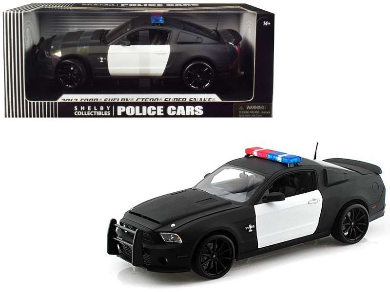 2012 Ford Shelby Mustang GT500 Super Snake Unmarked Black White Police Car 1/18 Diecast Car Model Shelby Collectibles 462