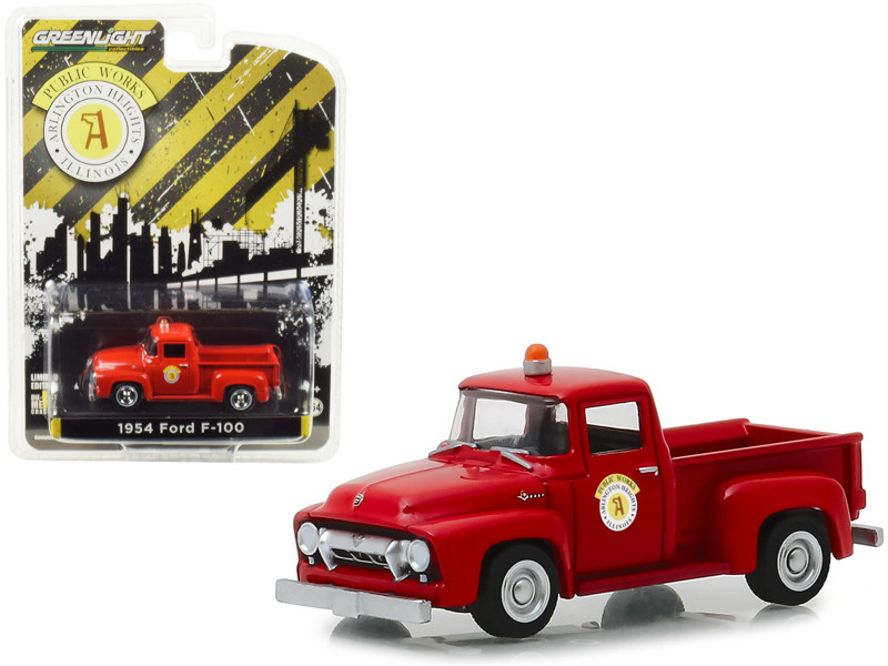 1954 Ford F-100 Pickup Truck Red Public Works Arlington Heights Illinois Hobby Exclusive 1/64 Diecast Model Car Greenlight 30031