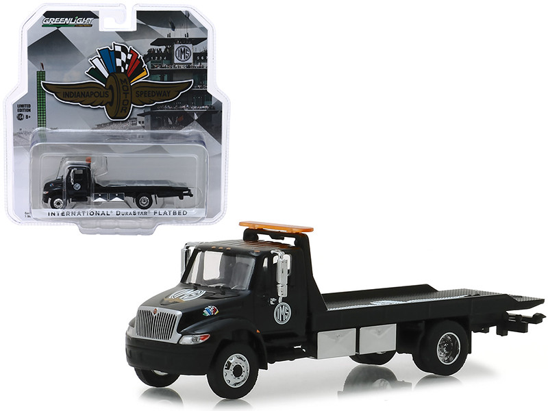 International Durastar Flatbed Truck Black Indianapolis Motor Speedway Wheel Wings Flag Hobby Exclusive 1/64 Diecast Model Car Greenlight 30035