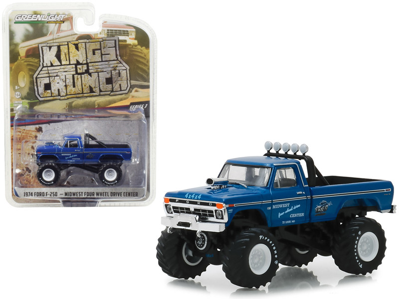 1974 Ford F-250 Monster Truck Midwest Four Wheel Drive Center Kings of Crunch Series 3 1/64 Diecast Model Car Greenlight 49030 A