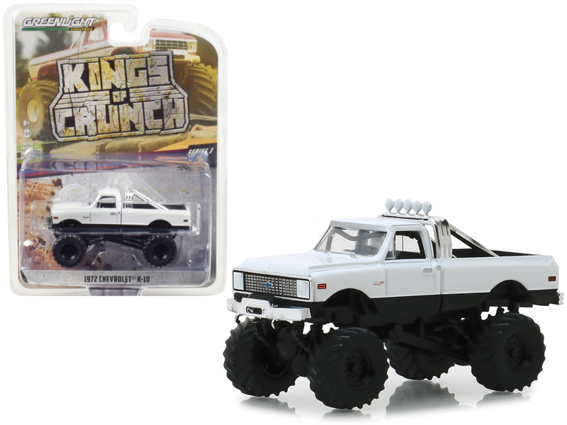 1972 Chevrolet K-10 Monster Truck White Kings of Crunch Series 3 1/64 Diecast Model Car Greenlight 49030 C