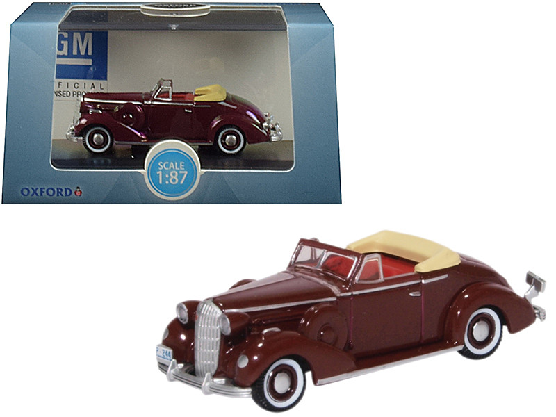 1936 Buick Special Convertible Coupe Cardinal Maroon 1/87 HO Scale Diecast Model Car Oxford Diecast 87BS36003