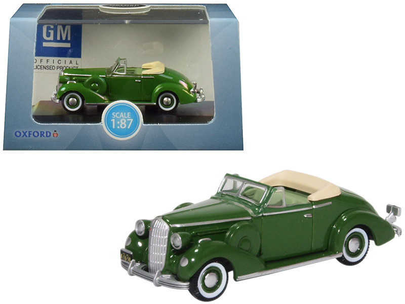 1936 Buick Special Convertible Coupe Balmoral Green 1/87 HO Scale Diecast Model Car Oxford Diecast 87BS36004