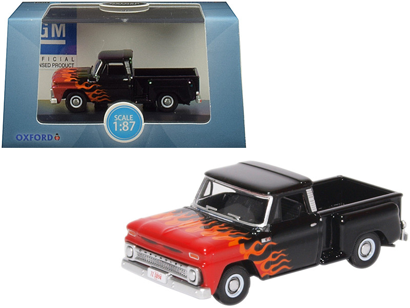 1965 Chevrolet C10 Stepside Pickup Truck Black Flames Hot Rod 1/87 HO Scale Diecast Model Car Oxford Diecast 87CP65004