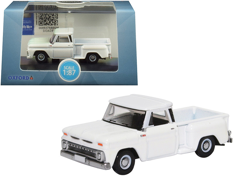 1965 Chevrolet C10 Stepside Pickup Truck White 1/87 HO Scale Diecast Model Car Oxford Diecast 87CP65005