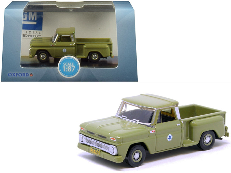 1965 Chevrolet C10 Stepside Bell System Pickup Truck Green 1/87 HO Scale Diecast Model Car Oxford Diecast 87CP65006