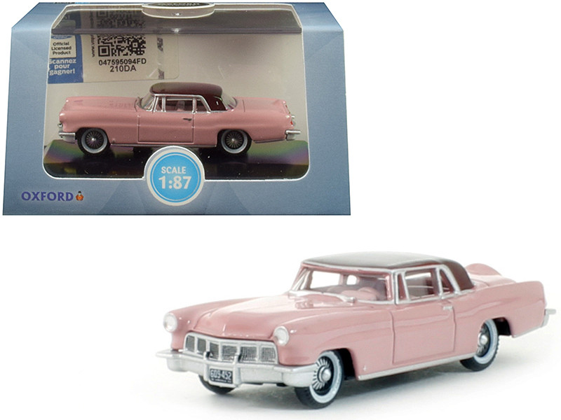 1956 Lincoln Continental Mark II Pink Dubonnet Red Top 1/87 HO Scale Diecast Model Car Oxford Diecast 87LC56002