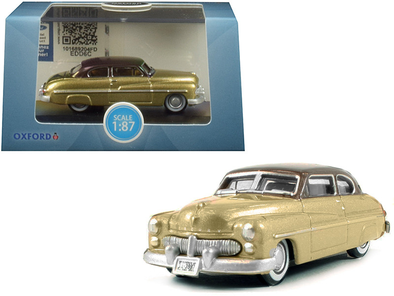 1949 Mercury Coupe Gold Dark Brown Top 1/87 HO Scale Diecast Model Car Oxford Diecast 87ME49004