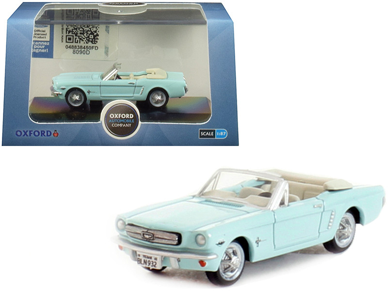 1965 Ford Mustang Convertible Tropical Turquoise 1/87 HO Scale Diecast Model Car Oxford Diecast 87MU65002