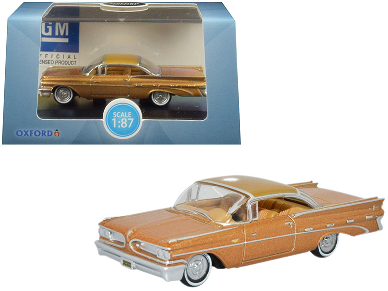 1959 Pontiac Bonneville Coupe Canyon Copper Metallic 1/87 HO Scale Diecast Model Car Oxford Diecast 87PB59001