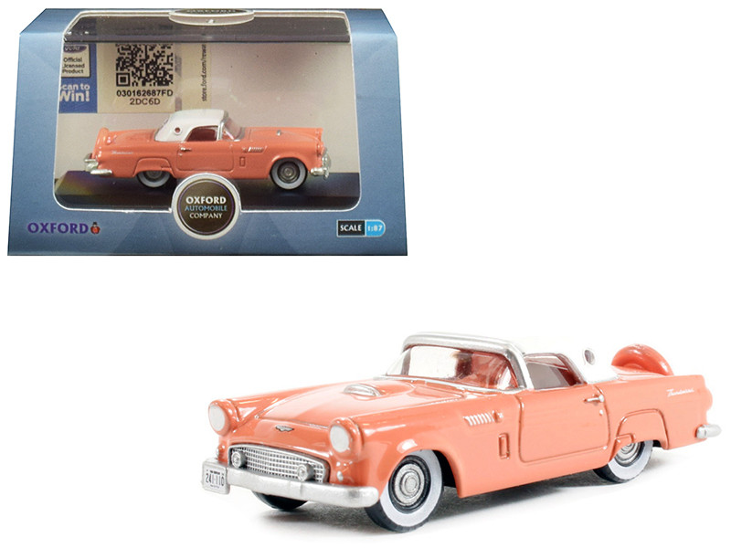1956 Ford Thunderbird Sunset Coral Colonial White Top 1/87 HO Scale Diecast Model Car Oxford Diecast 87TH56001