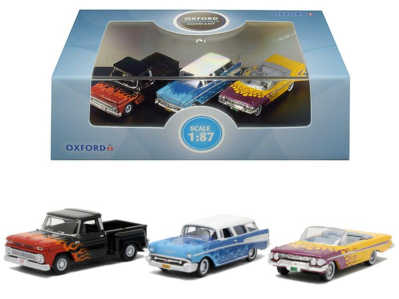 Chevrolet Hot Rods Set 3 pieces 1/87 HO Scale Diecast Model Cars Oxford Diecast 87SET001
