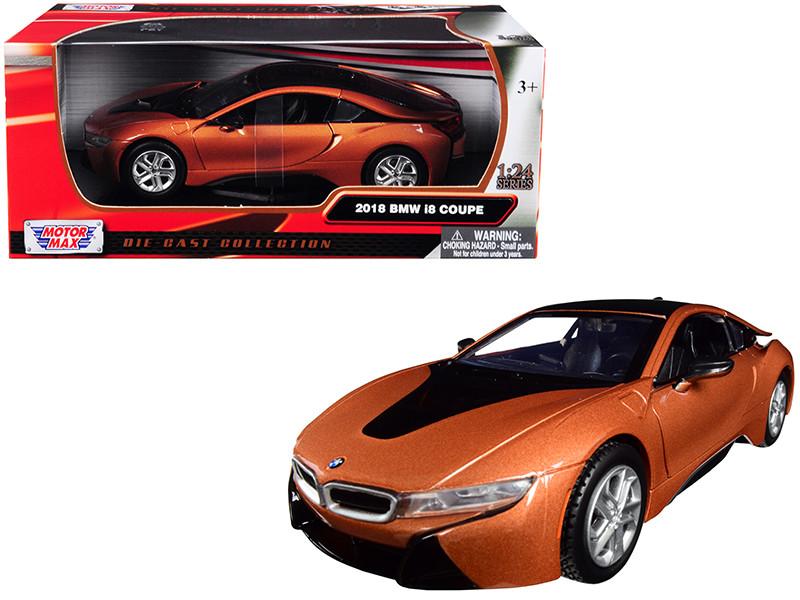 2018 BMW i8 Coupe Metallic Orange Black Top 1/24 Diecast Model Car Motormax 79359