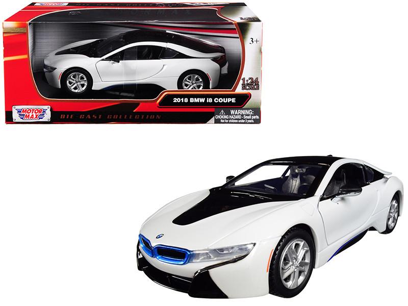 2018 BMW i8 Coupe Metallic White Black Top 1/24 Diecast Model Car Motormax 79359