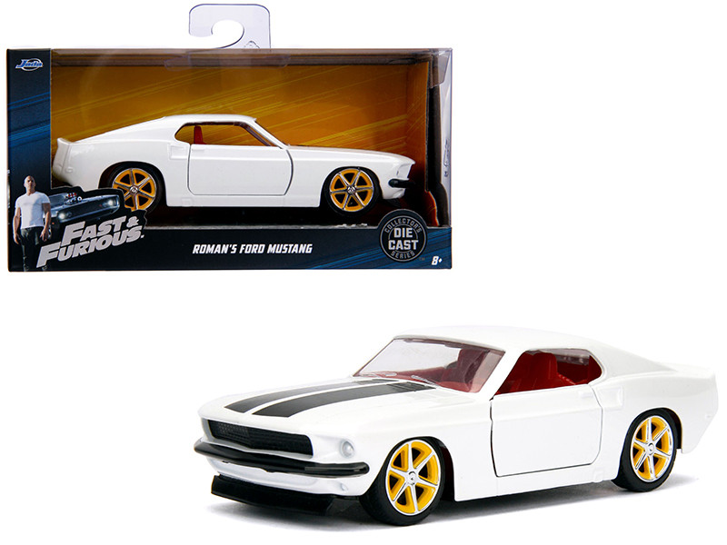 Roman's Ford Mustang White Red Interior Fast Furious Movie 1/32 Diecast Model Car Jada 99517