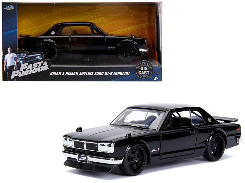 Brian's Nissan Skyline 2000 GT-R KPGC10 Black Fast & Furious Movie 1/32 Diecast Model Car Jada 99602