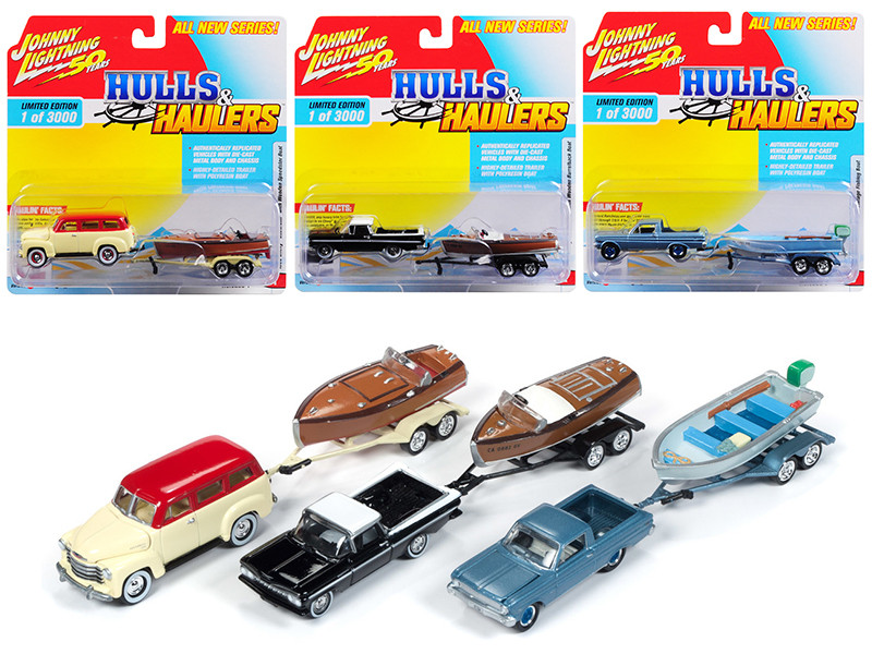 Hulls & Haulers Series 1 Set A 3 Cars Limited Edition 3000 pieces Worldwide 1/64 Diecast Model Cars Johnny Lightning JLBT011 A