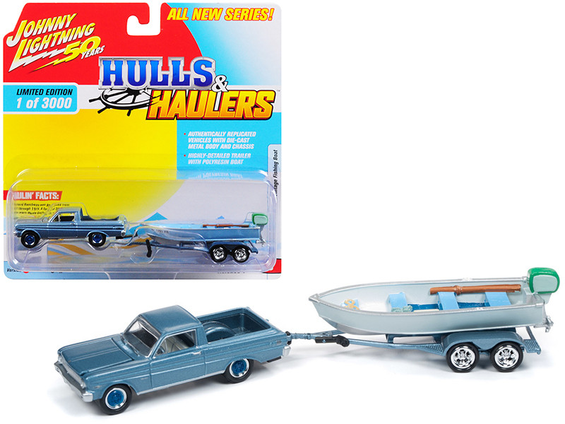 1965 Ford Ranchero Silver Blue Vintage Fishing Boat Limited Edition 3000 pieces Worldwide Hulls Haulers Series 1 1/64 Diecast Model Car Johnny Lightning JLBT011 A