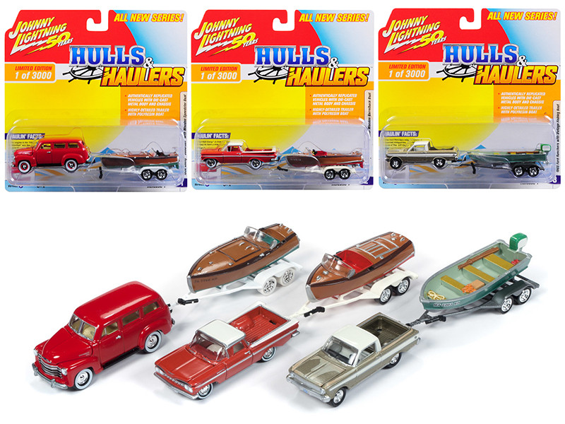 Hulls & Haulers Series 1 Set B 3 Cars Limited Edition 3000 pieces Worldwide 1/64 Diecast Model Cars Johnny Lightning JLBT011 B