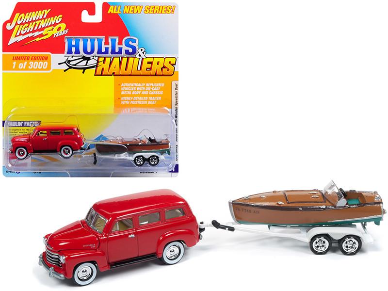 1950 Chevrolet Suburban Red Vintage Wooden Speedster Boat Limited Edition 3000 pieces Worldwide Hulls Haulers Series 1 1/64 Diecast Model Car Johnny Lightning JLBT011 B